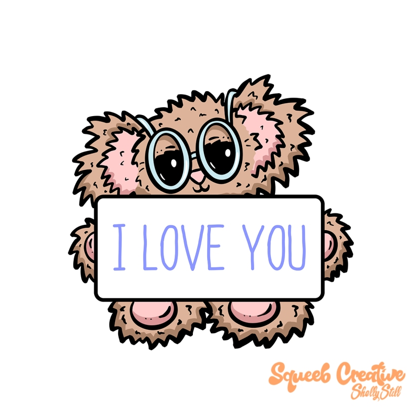 Bear Banner 1 I Love You Cartoon Teddy Squeeb Creative
