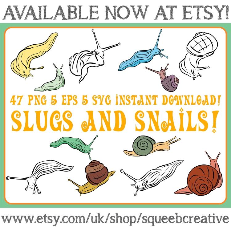 Snail Slug Line Art cartoon Illustration collection Squeeb Creative