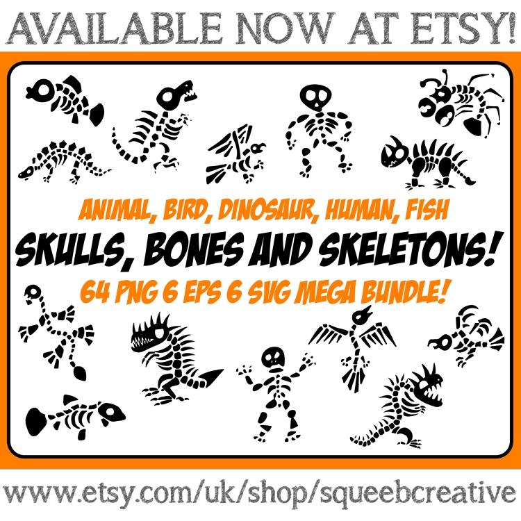 Bones Skeletons Clip Art Cartoon Illustration Squeeb Creative