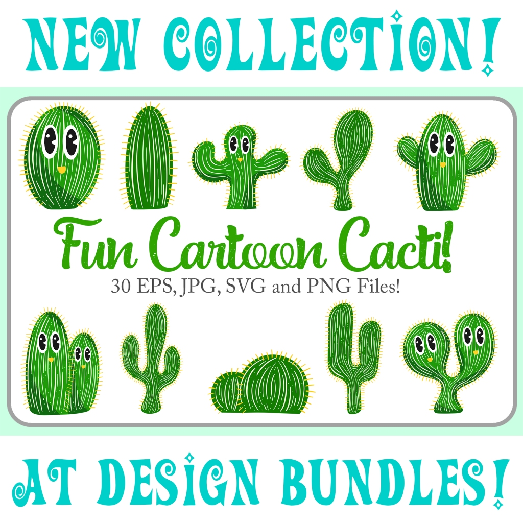 Cartoon collection of cactus plants Squeeb Creative