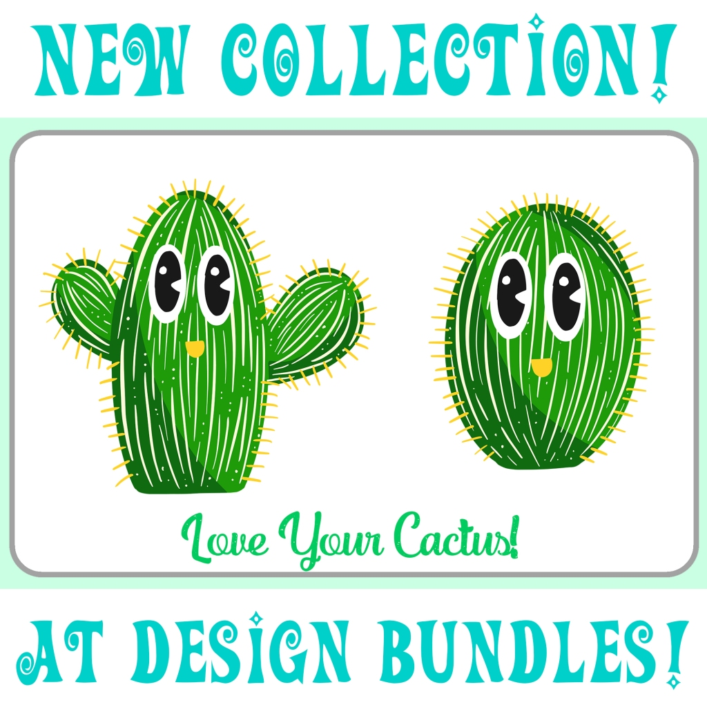 Design Bundle Christmas Cactus cartoon collection Squeeb Creative