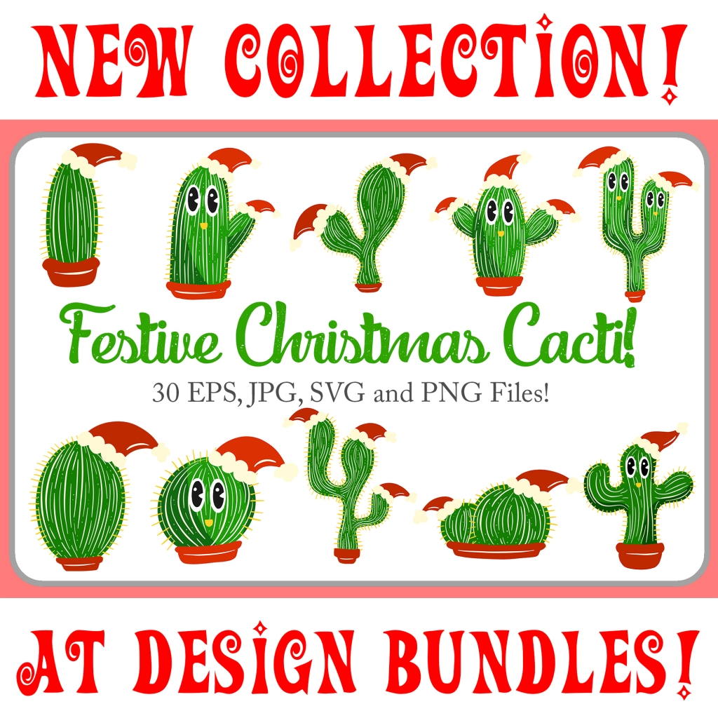 Cartoon collection of festive Christmas cactus plants Squeeb Creative