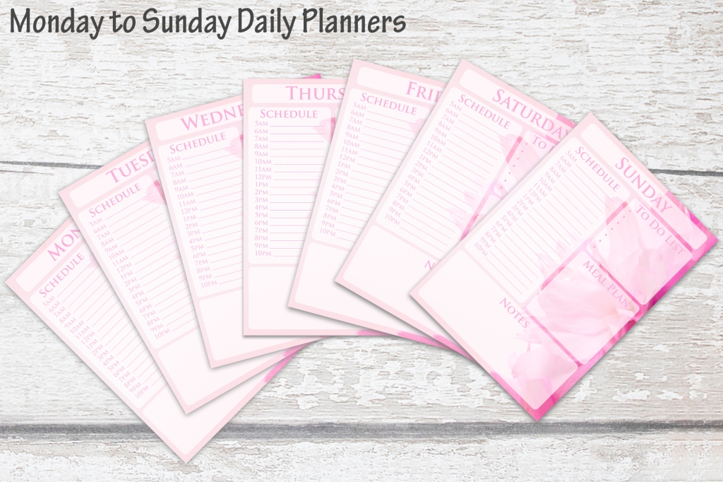 Pretty Pink Blossom Daily Planner Design by Squeeb Creative
