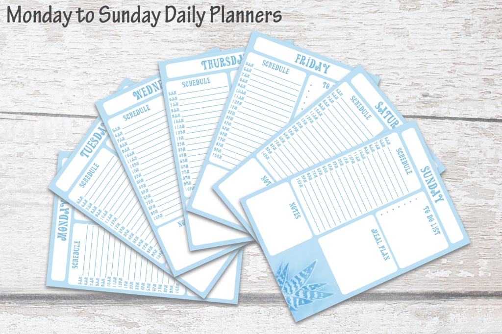 Blue Succulent Daily Weekly Yearly Planner Instant Download squeeb creative