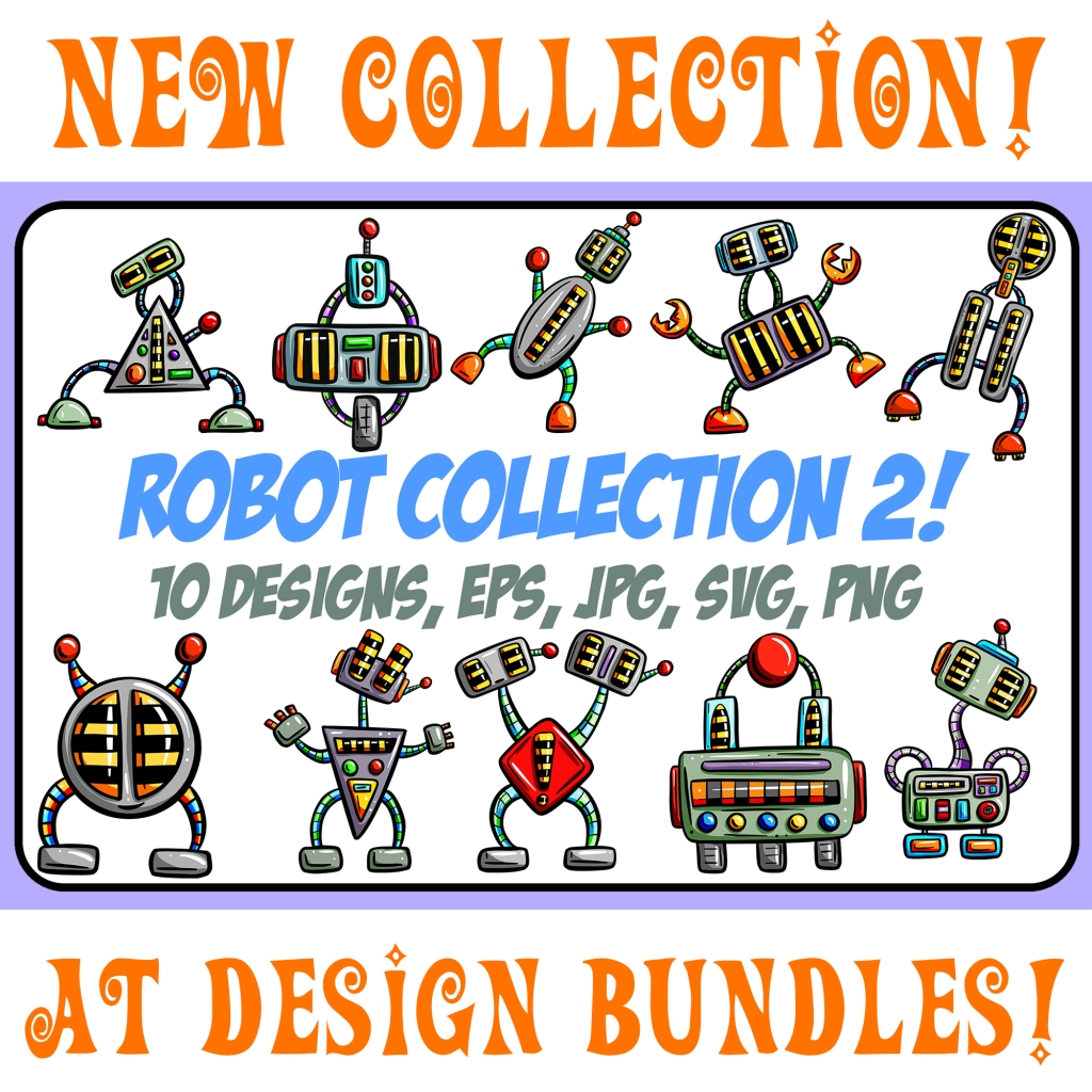 Cartoon robot downloads Squeeb Creative