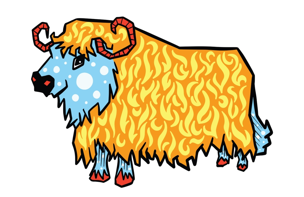 Retro Abstract Highland Cow Cartoon Illustration Squeeb Creative