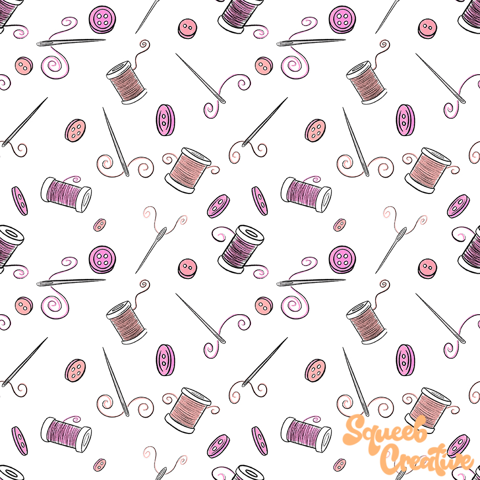 Sewing Crafting Illustration Repeating Pattern Squeeb Creative
