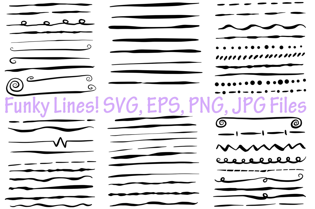Funky Lines Instant Download Collection Graphics by Squeeb Creative
