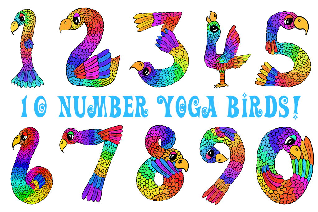 Yoga Birds Cartoon Illustration Collection 1 to 0 by Squeeb Creative