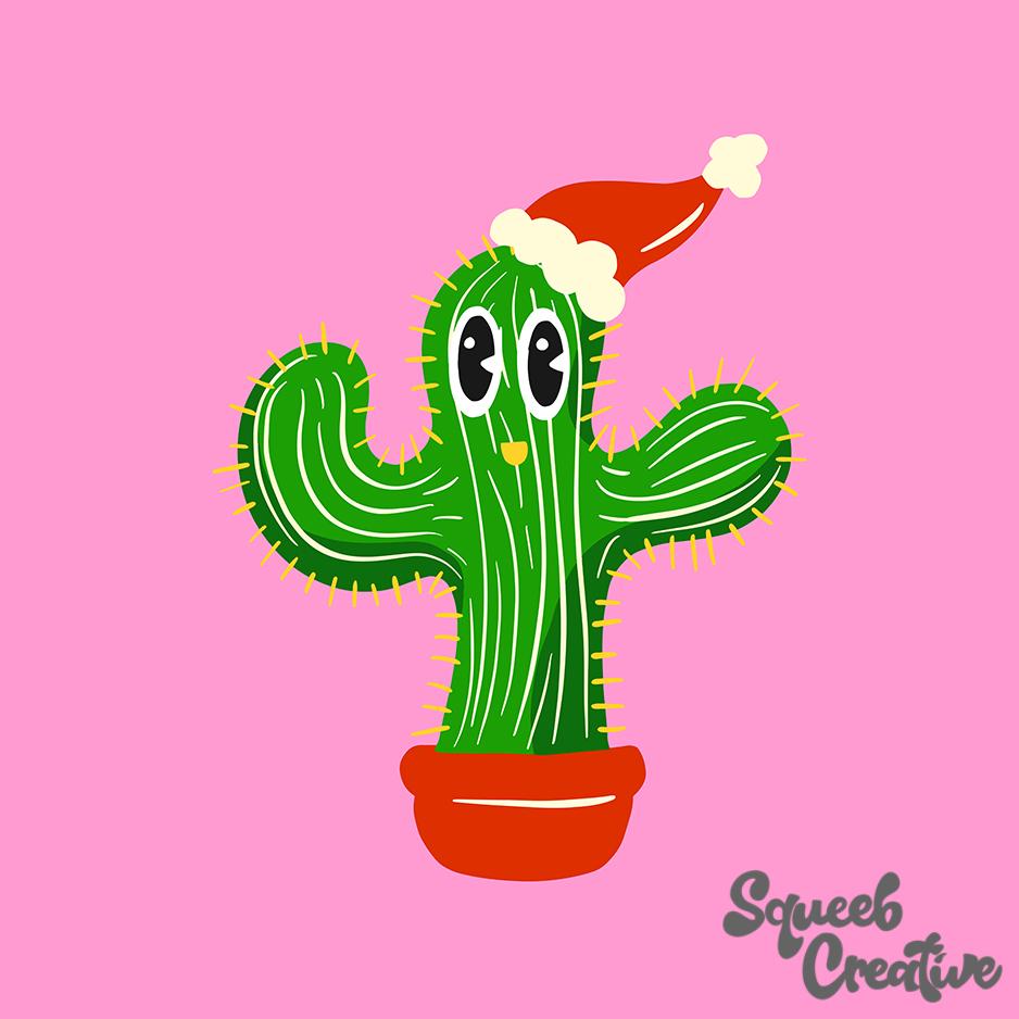 Christmas Cactus Santa Cartoon by Squeeb Creative