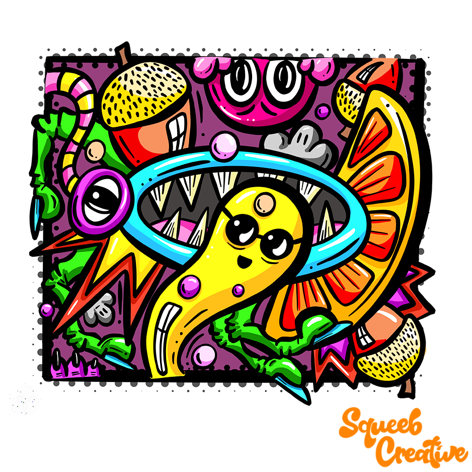 Low Brow Acorn Orange Mouth Cartoon