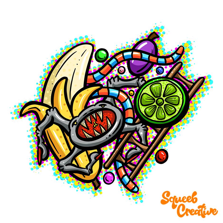 Lowbrow Lofi Art Cartoon Spider Lime by Squeeb Creative