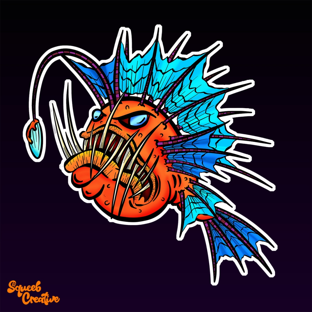 Angry Anglerfish Deep Sea Creature Cartoon Illustration Squeeb Creative
