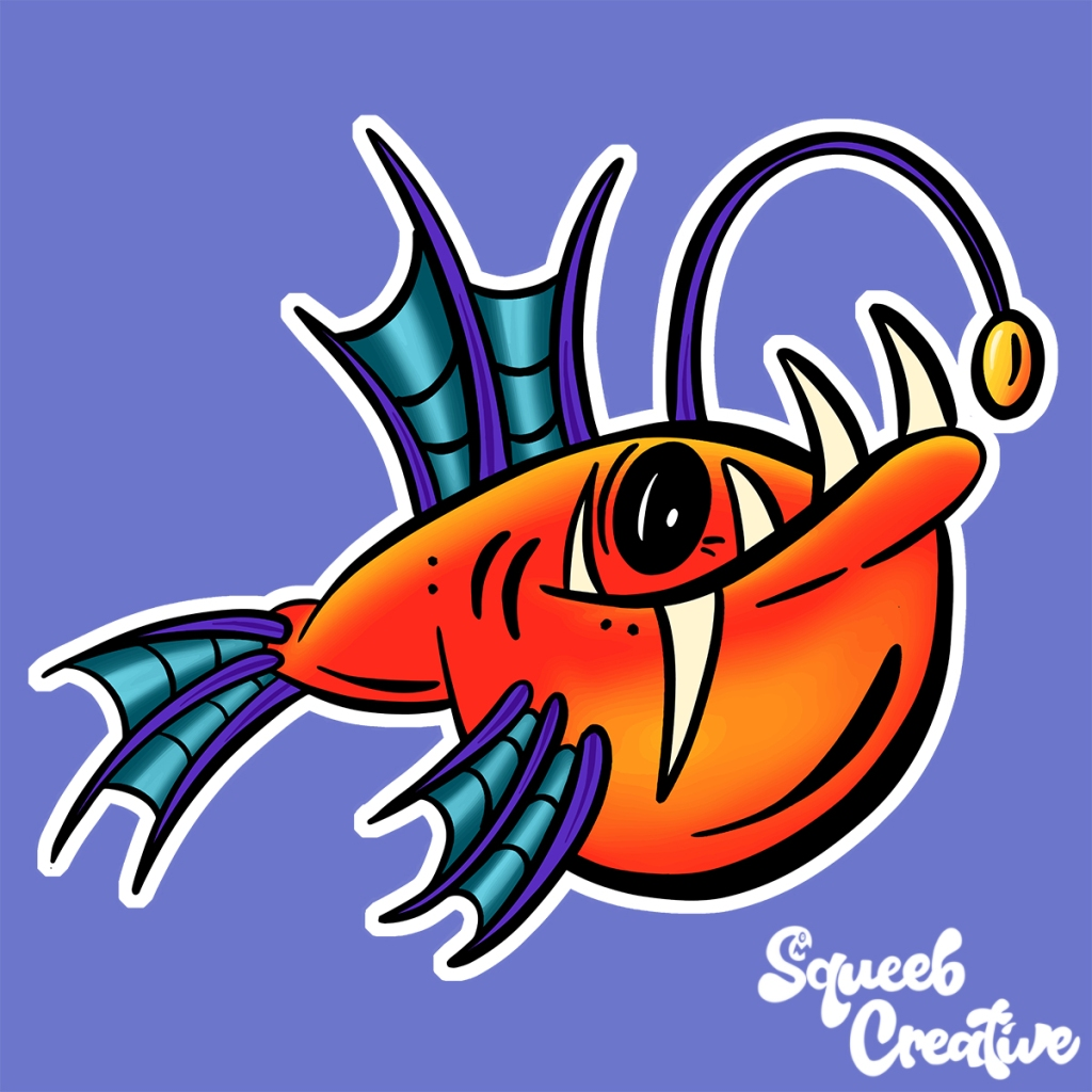Deep Sea Anglerfish Cartoon Collection by Squeeb Creative