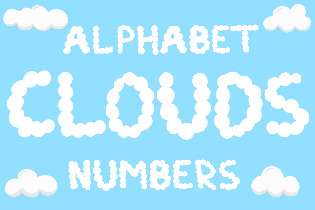Alphabet letters and numbers fluffy cloud SVG set Squeeb Creative
