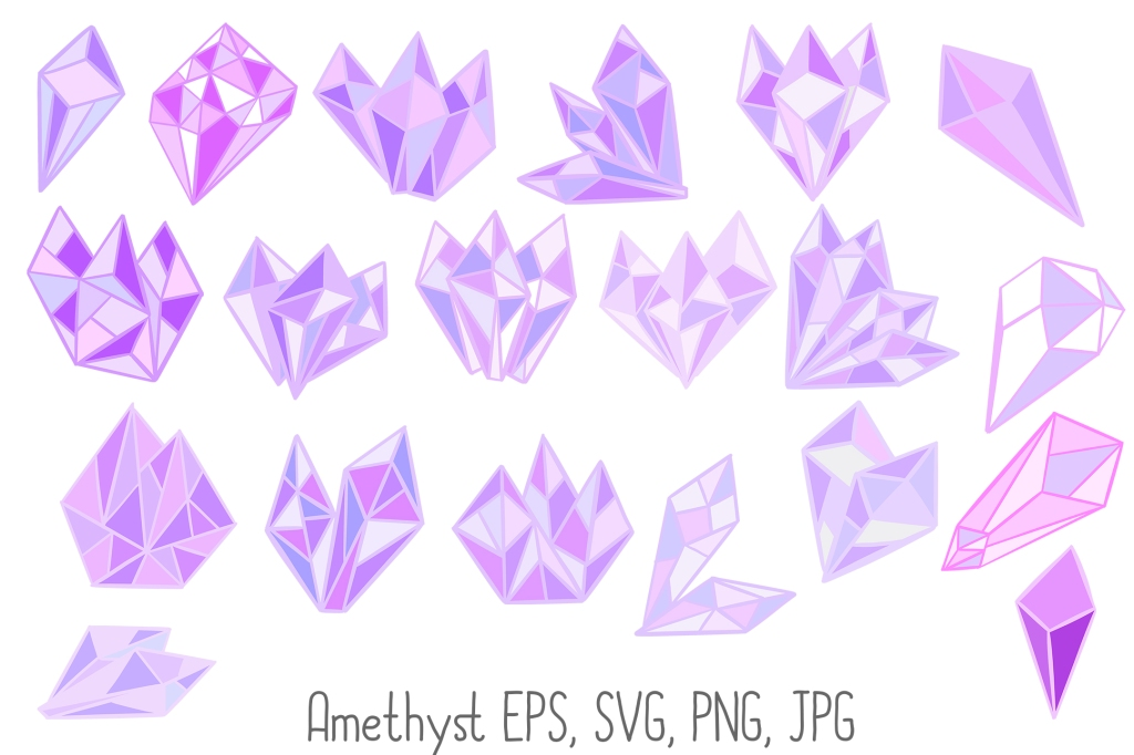 Crystal Shard Amethyst Jade Citrine Instant Download Illustrations by Squeeb Creative