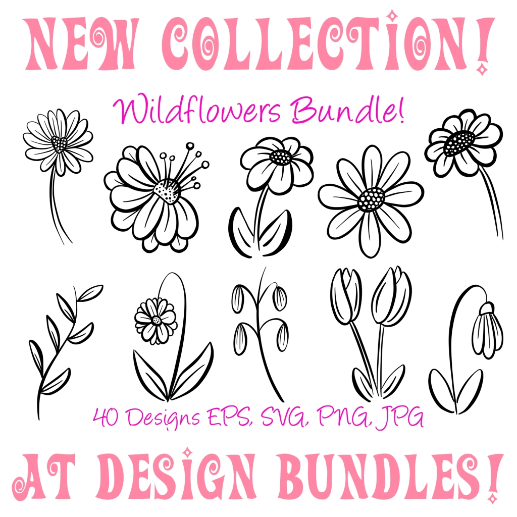Floral Wildflower Cartoon Illustration Collection by Squeeb Creative