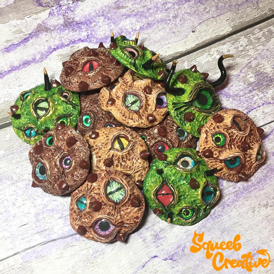 Alien Eyeball Halloween Cuppermans Cookie Biscuits OOAK Ceramic Sculpture by Squeeb Creative