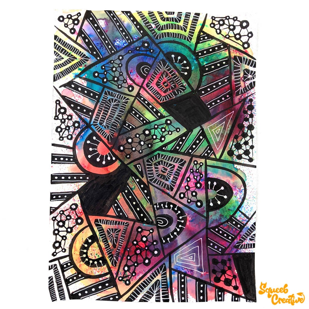 Watercolour and Ink Abstract Doodle Art by Squeeb Creative Artist