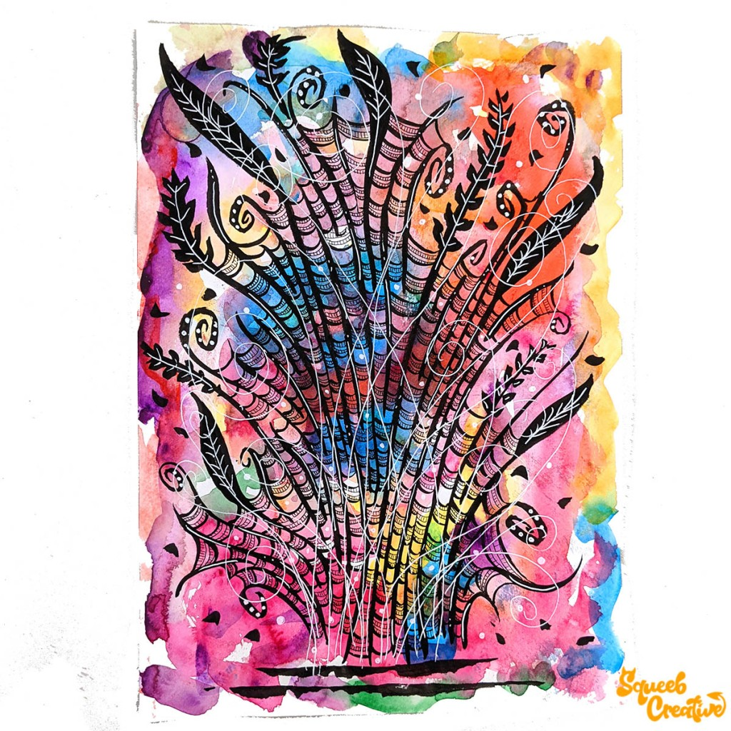Watercolour and Ink Floral Abstract Doodle Art by Squeeb Creative Artist