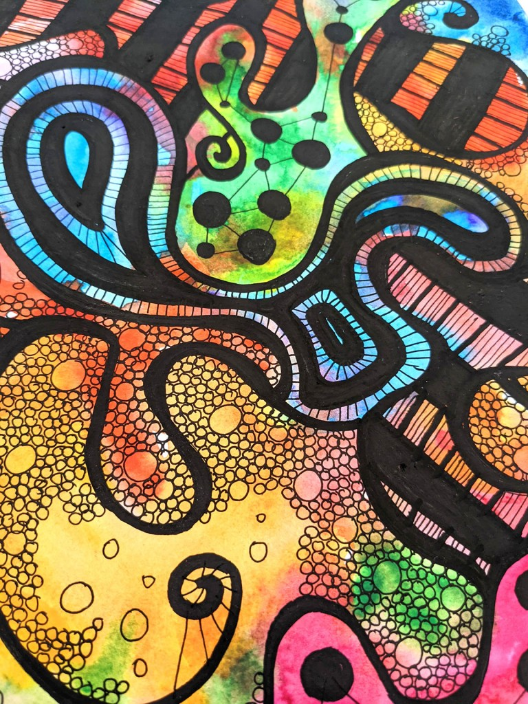 Abstract colourful watercolour ink art by Squeeb Creative