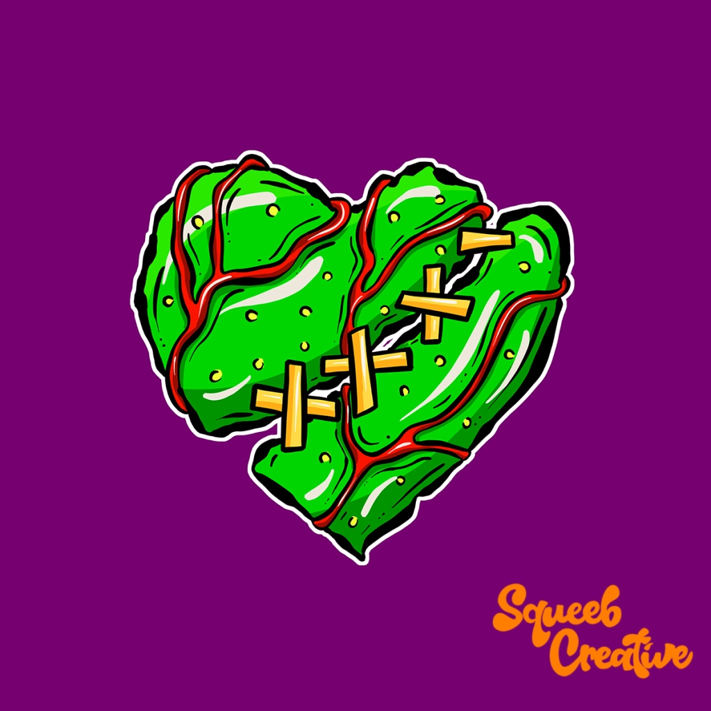 Zombie Heart Green Cartoon Illustration Logo Squeeb Creative