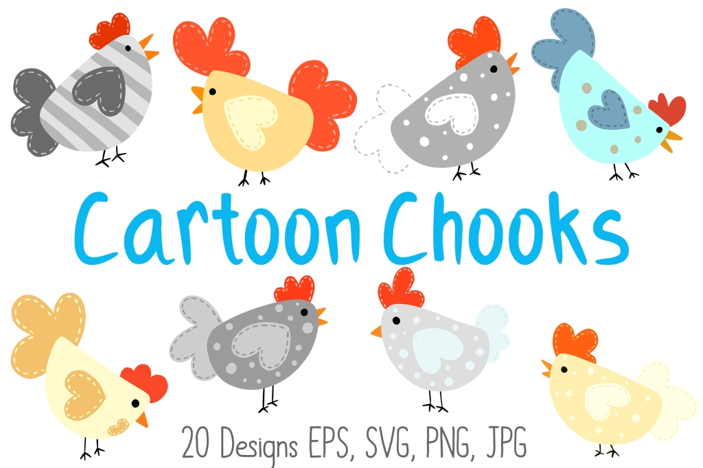 Cartoon Chook Chicken Hen Illustration Collection for Crafters by Squeeb Creative