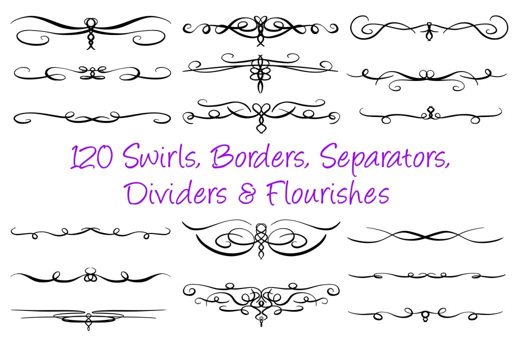 Swirl Borders Separator Dividers & Flourishes Collection Squeeb Creative