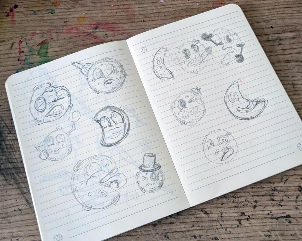 Cartoon Collection of pencil sketch moons Lunar Illustration Squeeb Creative