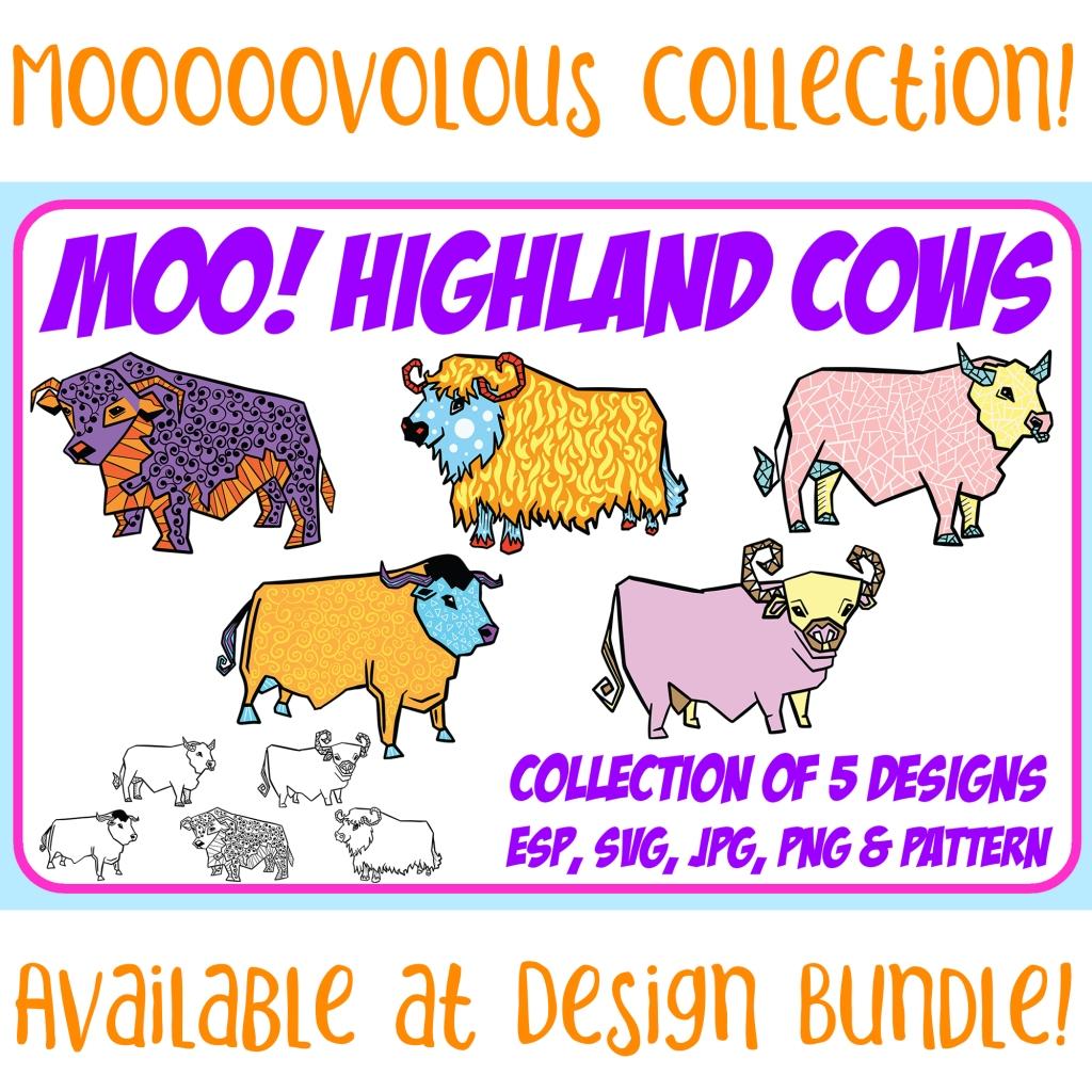 Highland Cow Cartoon Collection Squeeb Creative