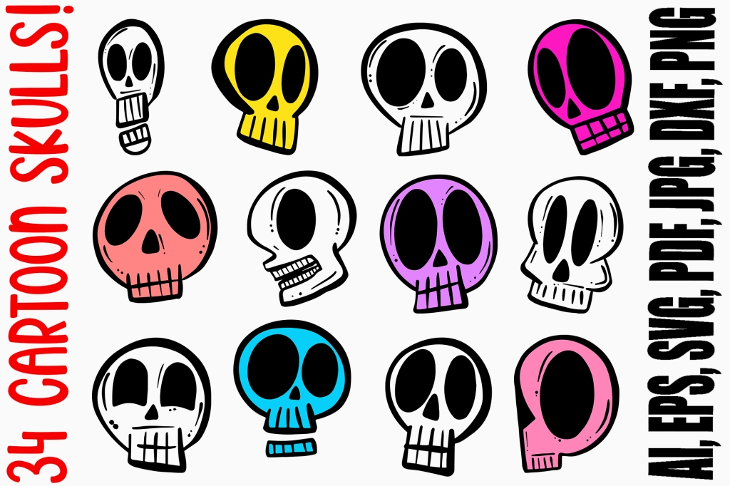 Cartoon Skull Illustration Doodles Halloween Collection by Squeeb Creative