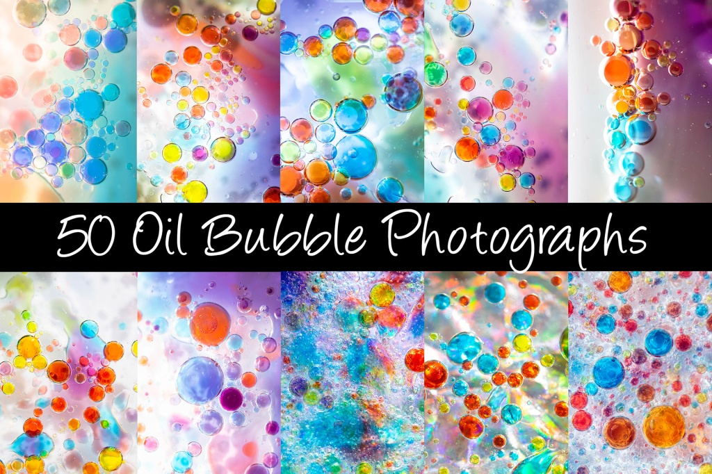 50 Oil Bubbles Close Up Backgrounds Photography by Squeeb Creative