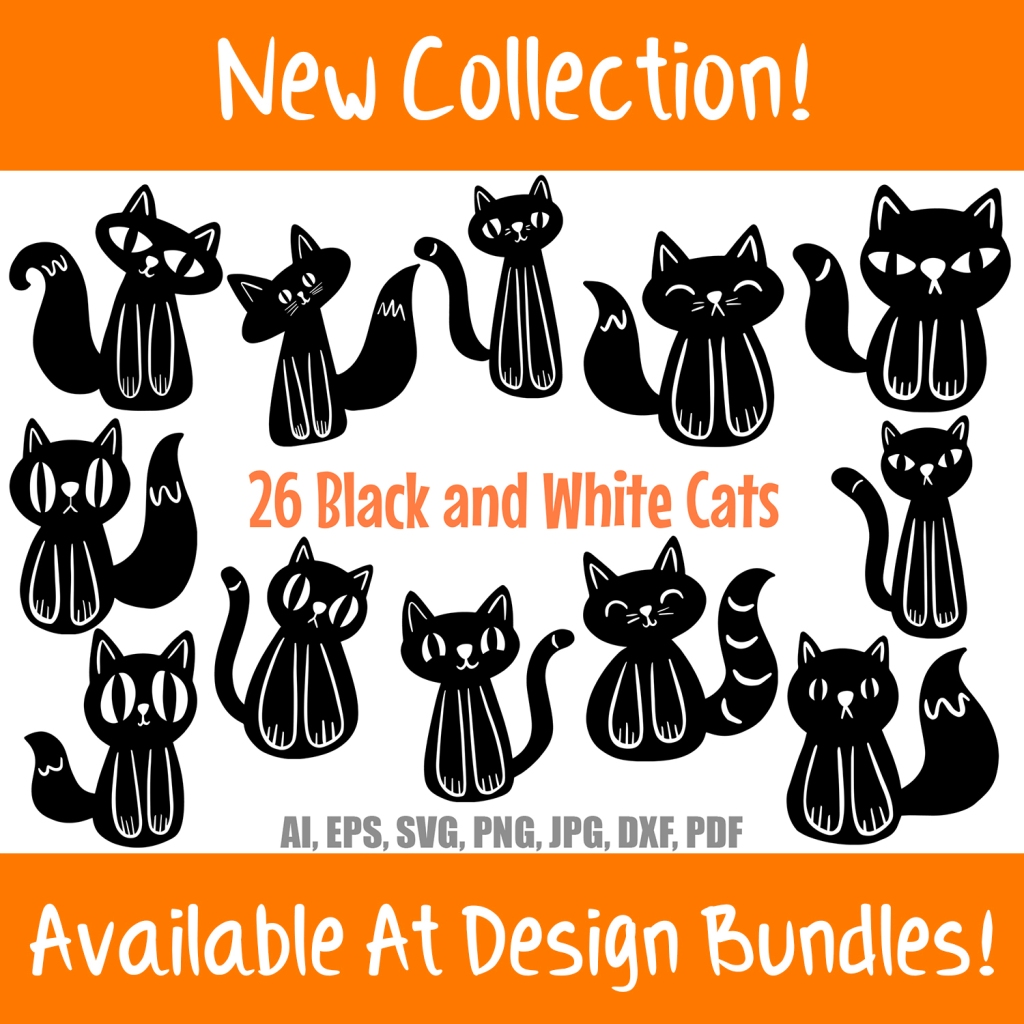 Black and White Cat Illustration Cartoon Collection Halloween by Squeeb Creative