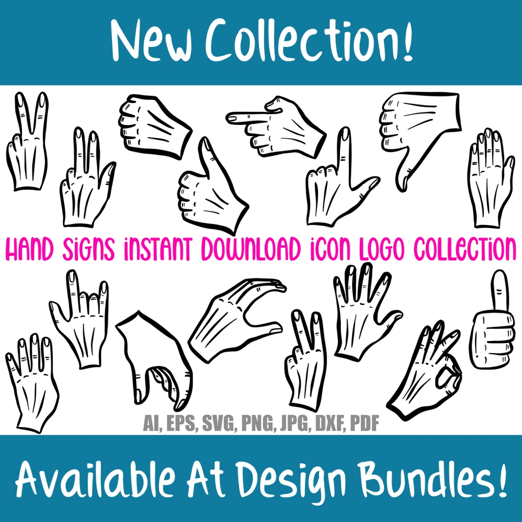 Cartoon Hand Signs Icon Logo Download Collection by Squeeb Creative