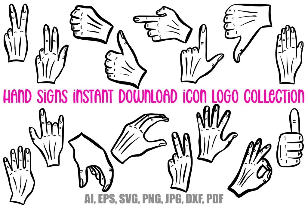 Hand Signs and Signals Icon Logo Design Cartoons Collection by Squeeb Creative