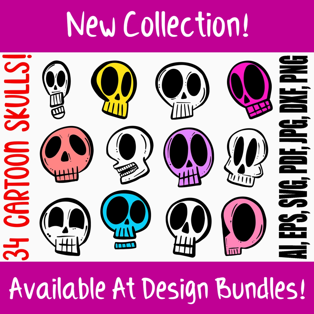 Cartoon Human Skulls Collection for Halloween and Spooky by Squeeb Creative