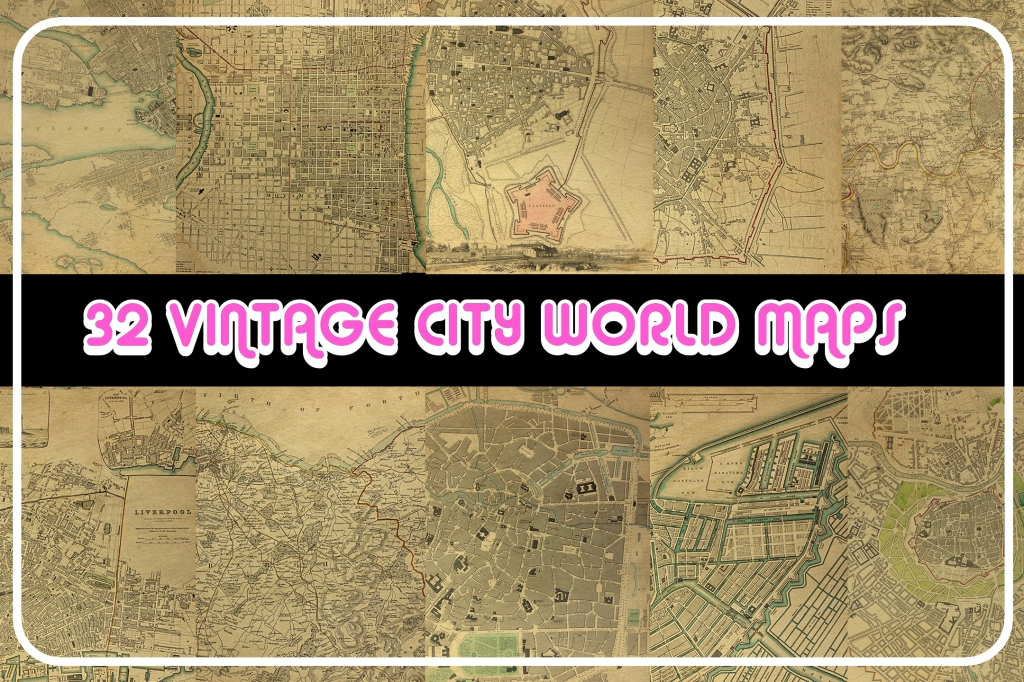 Antique vintage world maps illustration collection for download by Squeeb Creative