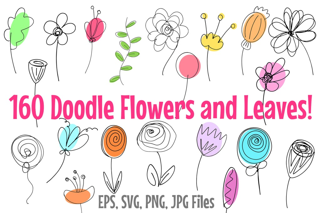 Doodle Flowers and Leaves Cartoon Icon Collection by Squeeb Creative