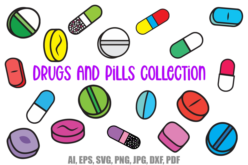 Drugs and Pills Cartoon Logo Icon Download Collection by Squeeb Creative