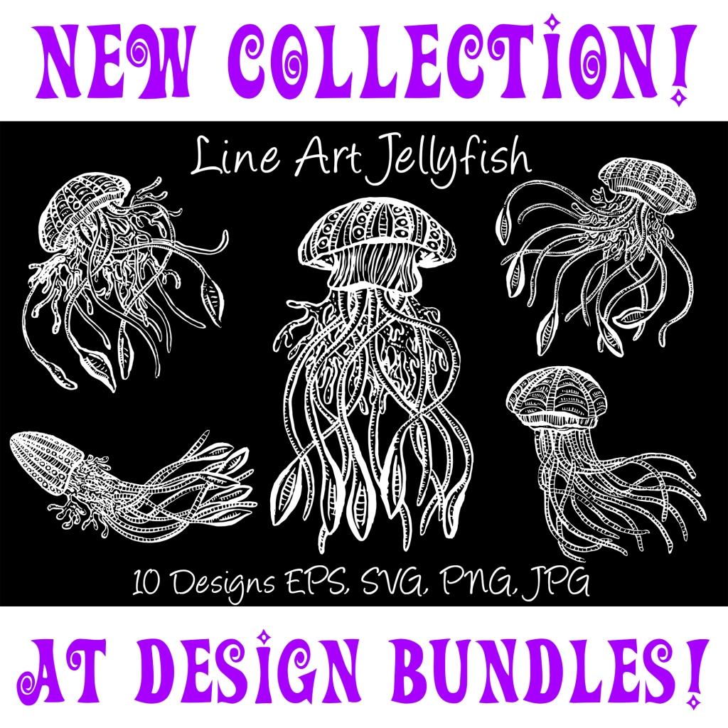 White Line Art Cartoon Jellyfish Octopus Deep Sea Creatures by Squeeb Creative