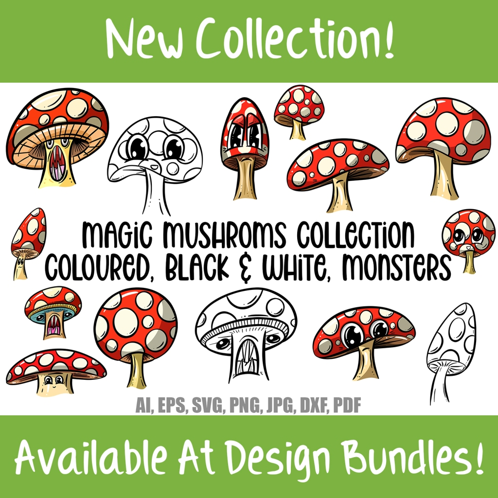 Toadstools and Mushrooms Cartoon Characters and Designs Collection Download by Squeeb creative