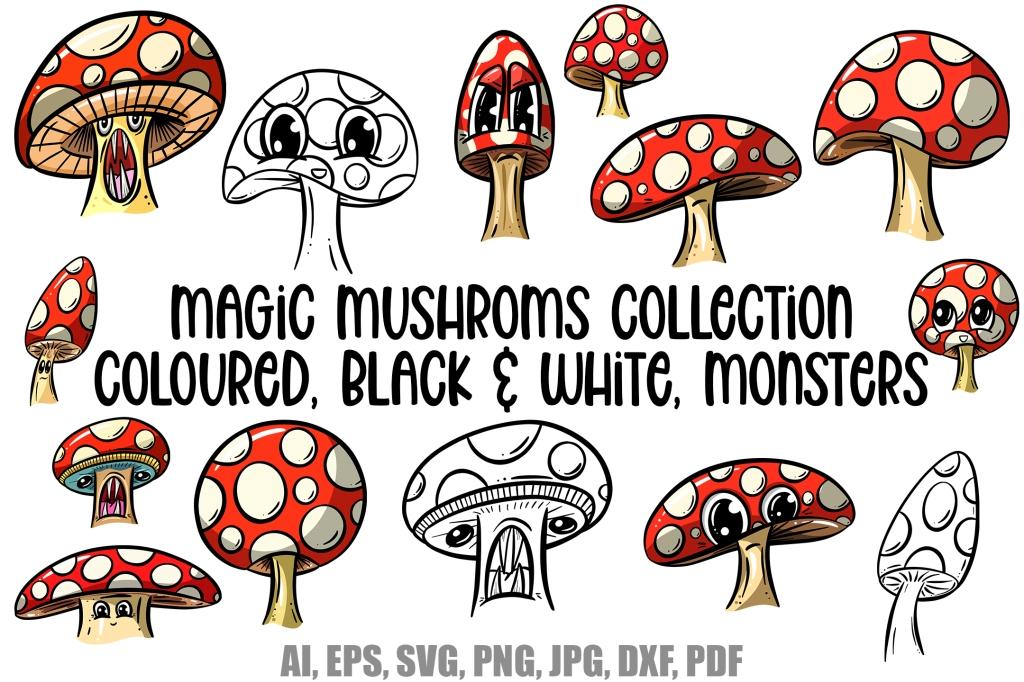 Magic Mushroom Cartoon Toadstools Illustration by Squeeb Creative