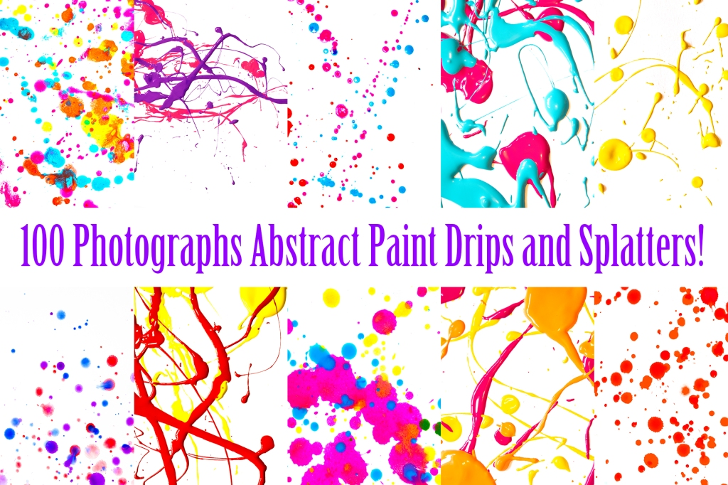 Paint splatters and drips vibrant bright background collection for download by Squeeb Creative