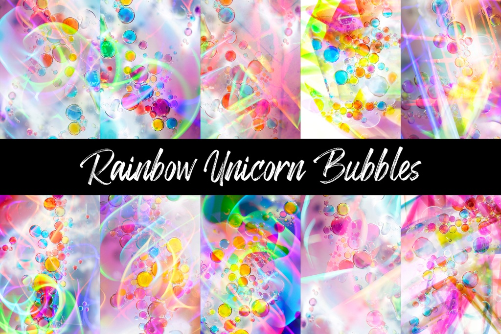 Rainbow Unicorn Bubbles Backgrounds Photography Download by Squeeb Creative