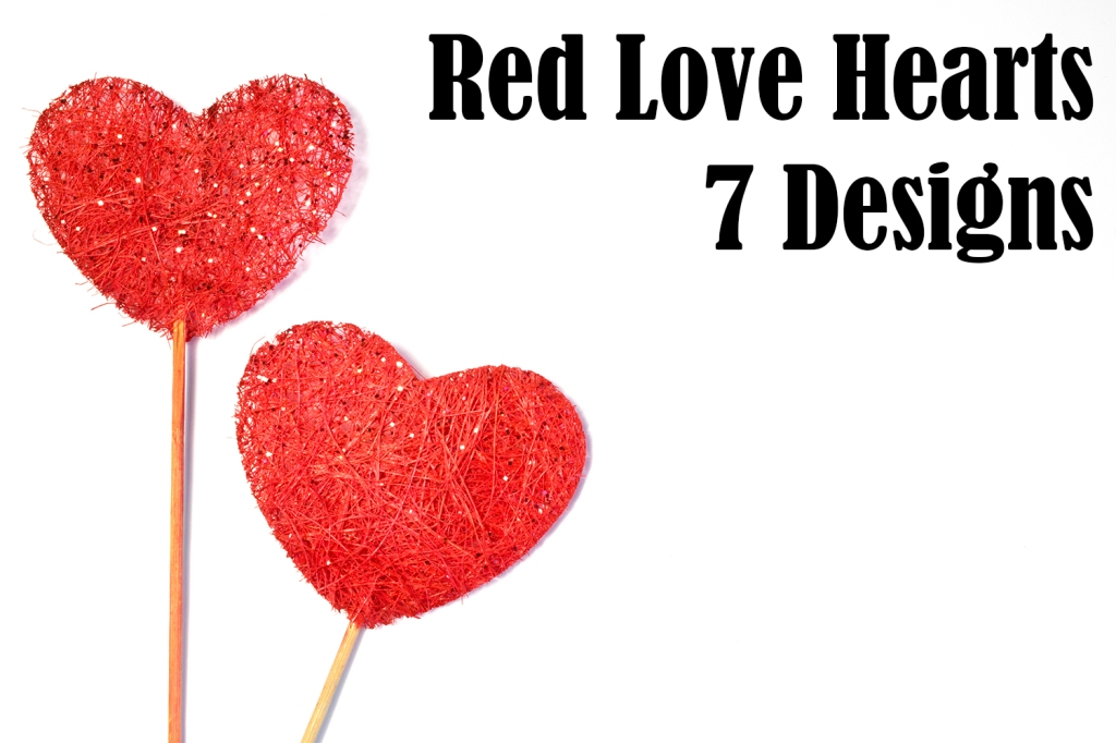 Fabric red love hearts on sticks on white background photography download by Squeeb Creative