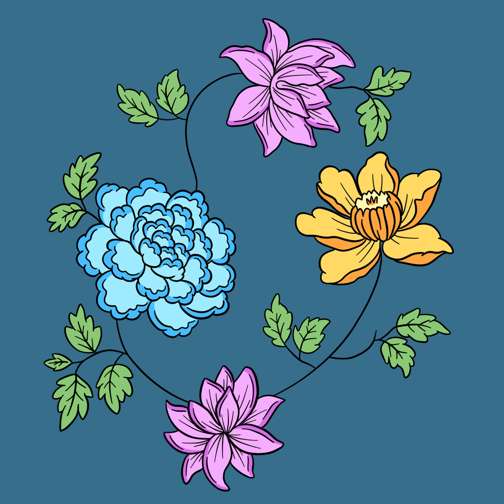 Vintage Floral line Art Designs Collection by Squeeb Creative
