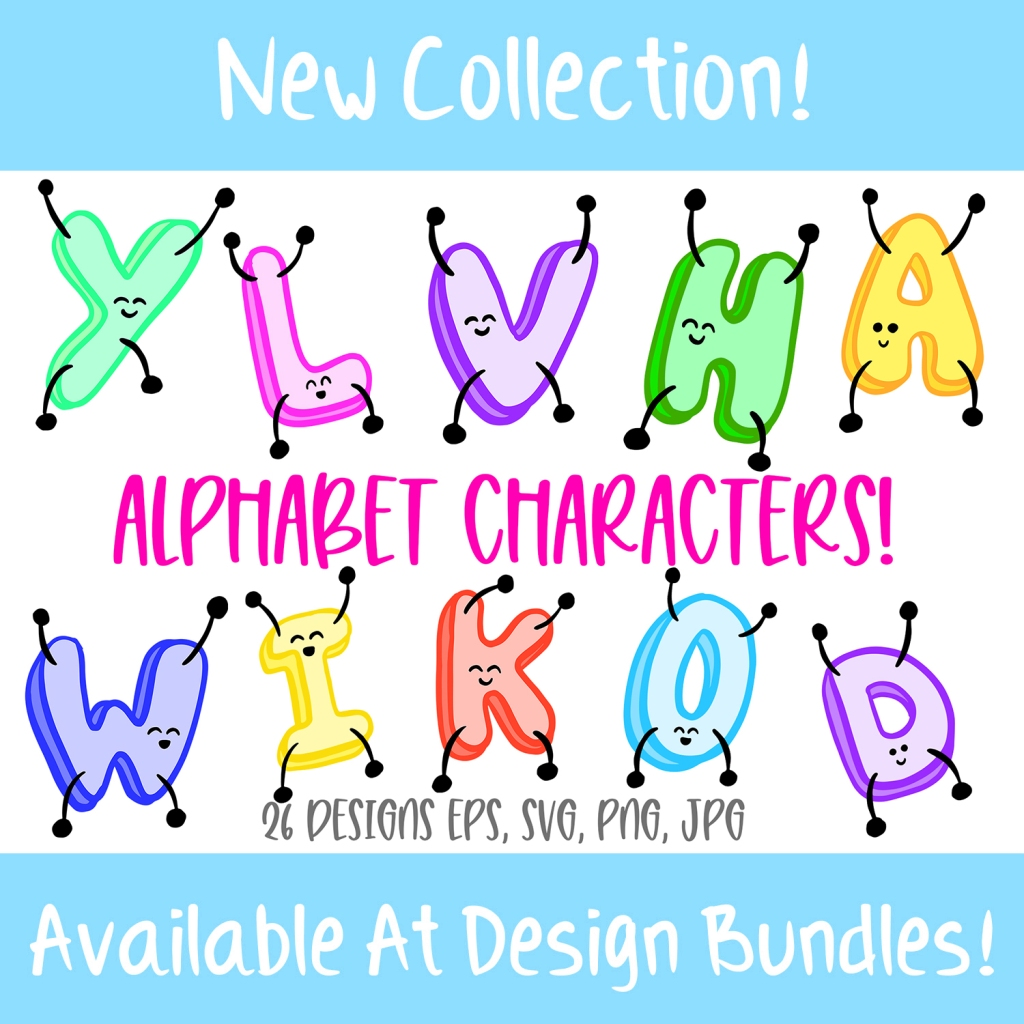 Jumping ABC Alphabet Cartoon Characters! SVG, PNG, JPG, EPS Bundle by Squeeb Creative