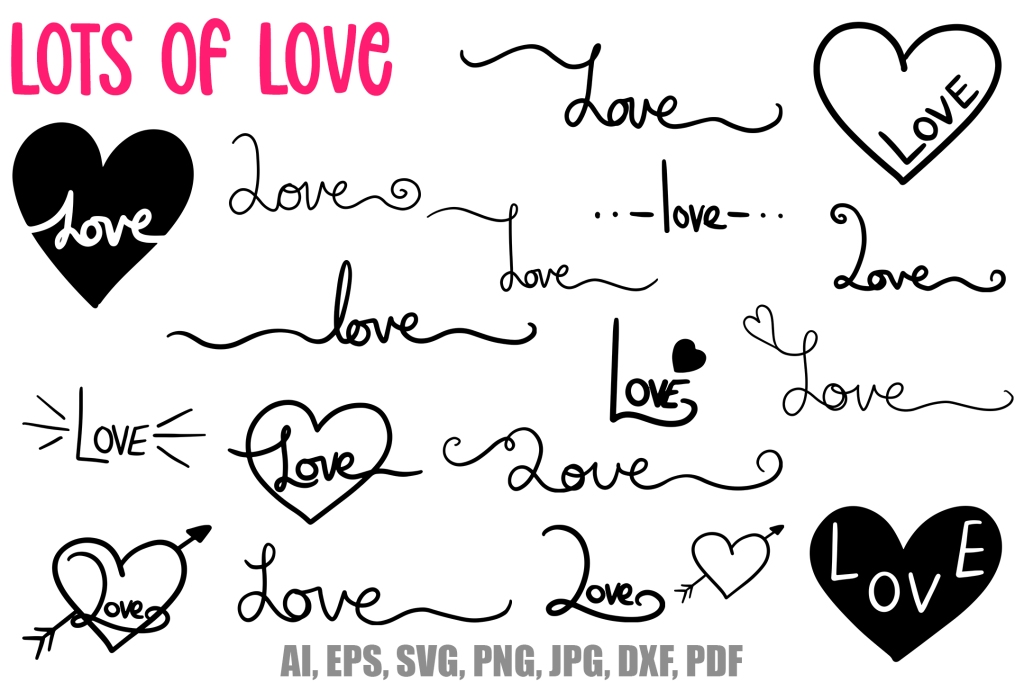 Love Letters Words Download Lettering for Valentines and Weddings by Squeeb Creative
