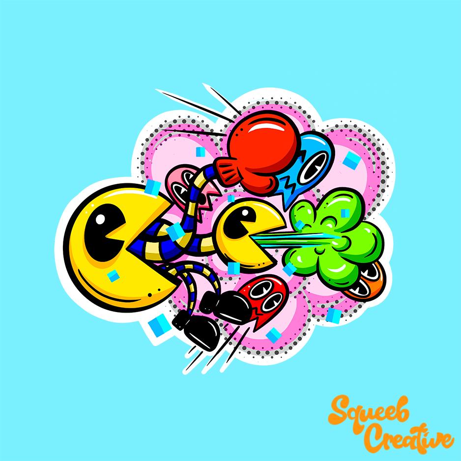 Retro pacman cartoon lowbrow mashup illustration logo by Squeeb Creative