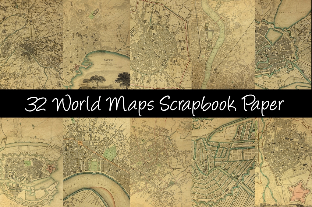 World Maps Scrapbook Paper Download Collection by Squeeb Creative